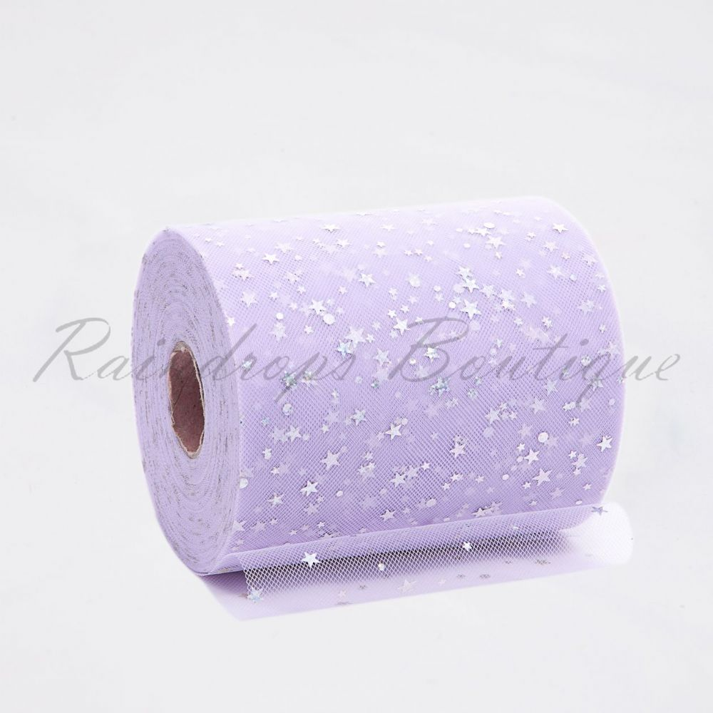 Lavender Sequin Star Tulle Roll